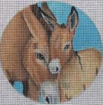 "FF59 Donkey Pair  5"" Round Nenah Stone Designs 18 Mesh"