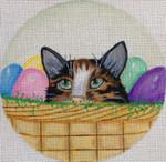 """EA66 Easter Egg Kitty-6"""" Round Nenah Stone Designs 18 Mesh"""