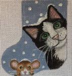 CH163 Cat And Mouse Mini-Sock 4.5 x 3.5  Nenah Stone Designs 18 Mesh