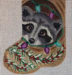 CH164 Raccoon Mini-Sock 4.5 x 3.5  Nenah Stone Designs 18 Mesh