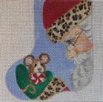 CH165 Santa And Mouse Mini-Sock 4.5 x 3.5  Nenah Stone Designs 18 Mesh