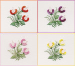 1223-078 Tangerine Three Jasmines Kit 7X7  top-left EdMar Brazilian Dimensional Embroidery