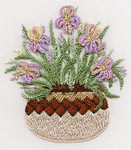 1422 Irises in Pottery Kit Fabric Size 8X10 EdMar Brazilian Dimensional Embroidery