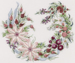 1038 Utopia Wreath White  Print Only Fabric Size 16 x 16 EdMar Brazilian Dimensional Embroidery