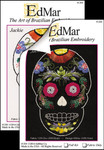 1301 Jackie - Flower Skull Print Only Fabric Size12X12  White Kit EdMar Brazilian Dimensional Embroidery