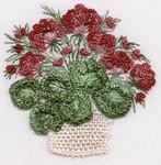 1421 Geranium Basket Kit Print OnlyFabric Size 8X10 EdMar Brazilian Dimensional Embroidery