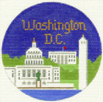 372 Washington DC Ornament 4.25 RD. 18 Mesh Silver Needle Designs