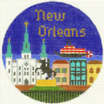 442 New Orleans Ornament 4.25 RD. 18 Mesh Silver Needle Designs