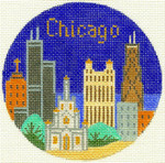 460 Chicago Ornament  4.25 RD. 18 Mesh Silver Needle Designs