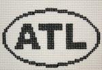 757 ATL (Atlanta, GA) Oval Ornament 5 x 3 13 Mesh Silver Needle Designs