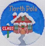 762 North Pole Ornament 4.25 round18 Mesh Silver Needle Designs