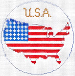 764 USA Ornament 4.25 round18 Mesh Silver Needle Designs