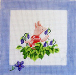 187 Piglet & Violets Winnie The Pooh and Balloons Pillow 10 x 10 13 Count Silver Needle Designs
