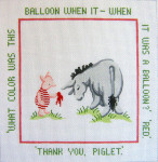 193 Red Balloon Winnie The Pooh 12 x 12 13 Count Silver Needle Designs