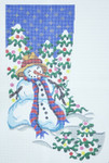 308 Snowman Christmas Stocking 12 x 1813 Mesh Silver Needle Designs