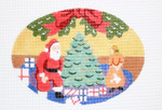 420 Santa Oval Ornament 5.5 x 4 18 Mesh Silver Needle Designs