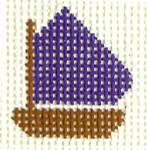 M33 Purple Boat Mini  2 x 2 13  Mesh Silver Needle Designs