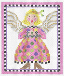 KC-KCN142 Pink And Polka Dot Angel 5 x 6.5 13 Mesh KELLY CLARK STUDIO, LLC