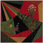 "KC-KCA012-18 Christmas Crazy Quilt 7.8"" square 18 Mesh With Stitch Guide  KELLY CLARK STUDIO, LLC"