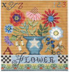 KC-KCA29-18 Country Flower Sampler 11.5 x 12 18 Mesh With Stitch Guide And Embellishment Kit KELLY CLARK STUDIO, LLC