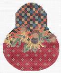 """KC-KCN1436  Autumn Folk Art Pear 3.5""""w x 4.5""""h 18 Mesh With Stitch Guide KELLY CLARK STUDIO, LLC"""