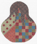 "KC-KCN1443 Autumn Checkered Madness Pear 3.5""w x 4.5""h 18 Mesh KELLY CLARK STUDIO, LLC"