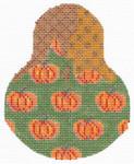"KC-KCN1438 Pumpkin Patterned Pear 3.5""w x 4.5""h 18 Mesh With Stitch Guide KELLY CLARK STUDIO, LLC"