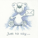 HCK1312 Heritage Crafts Kit Just to Say - Justin Bear Cards by Peter Underhill