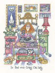 HCK1331A Heritage Crafts Kit In Bed with Crazy Cat Lady - Cats Rule by Peter Underhill
