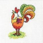 HCK1343 Heritage Crafts Kit Cockerel - Simply Heritage Cards (3) by Karen Carter