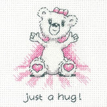 HCK1346 Heritage Crafts Kit Just a Hug (pink) - Justine Bear Cards (3) by Peter Underhill