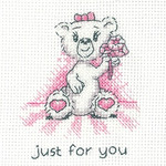 HCK1347 Heritage Crafts Kit Just For You (pink) - Justine Bear Cards (3) by Peter Underhill