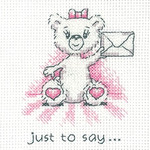 HCK1348 Heritage Crafts Kit Just To Say (pink) - Justine Bear Cards (3) by Peter Underhill