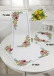 "105829 Permin Kit Spring Flowers - Table Topper (Right) 13.2"" x 13.2""; White Aida; 8ct"