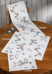 "106734 Permin Kit Branch with Berries - Table Topper 13.6"" x 13.6""; White Aida; 11ct"