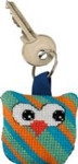 "116110 Permin Kit Owl Keyring - Diagonal Stripes Bias band, ring and back included.; 2"" x 2""; White Aida ; 14ct"