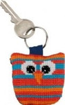 "116112 Permin Kit Owl Keyring - Vertical Stripes Bias band, ring and back included.; 2"" x 2""; White Aida ; 14ct"