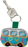 "116113 Permin Kit Love VW Bus Keyring Bias band, ring and back included.; 2"" x 2""; White Aida ; 14ct"