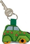"116115 Permin Kit Green Citroen Keyring Bias band, ring and back included.; 2"" x 2""; White Aida ; 14ct"
