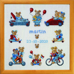 "120441 Permin Kit Martin - Birth Sampler 14"" x 14""; White Linen"