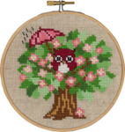 "136305 Permin Kit Spring Owl with Hoop Includes hoop/frame.; 5.2""; Natural Linen; 26ct"