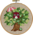 "136306 Permin Kit Summer Owl with Hoop Includes hoop/frame.; 5.2""; Natural Linen; 26ct"