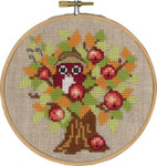 "136307 Permin Kit Autumn Owl with Hoop Includes hoop/frame.; 5.2""; Natural Linen; 26ct"