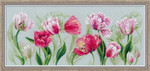 "RL100052 Riolis Cross Stitch Kit Spring Tulips; 17.5"" x 11.75""; Coloured Aida; 14ct"