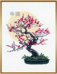 "RL1036 Riolis Cross Stitch Kit Bonsai Pine Wish Well Being 14"" x 18""; White Aida; 14ct"