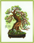 "RL1037 Riolis Cross Stitch Kit Bonsai Pine Wish Well Longevity 14"" x 18""; White Aida; 14ct"
