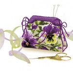 "RL1039 Riolis Cross Stitch Kit Pansy Pincushion Includes filling.; 4.25"" x 3.25""; Flaxen Aida; 14ct"