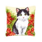PNV143701 Vervaco Kit Cat in Flower Field Cushion