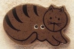 "43014R Debbi Mumm Brown Cat lying down facing right; 1 1/4"" x 3/4""     2 Pieces"