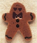 "43019 Debbi Mumm Button Ginger Bread Man with Bow Tie; 1"" x 1 1/4""    2 Pieces"